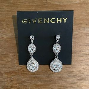 Givenchy Silver Tone and Crystal Drop Earrings